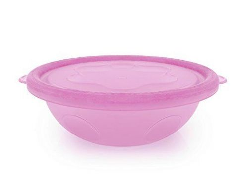 Griptight - 4 Travel disposable/reuseable Bowls with Lids Pink and White